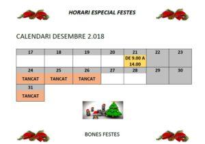 CALENDARI FESTES DE NADAL 2018